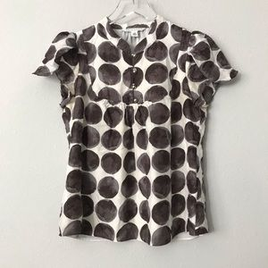 Banana Republic 100% Silk Polka Dot Blouse Sz XS